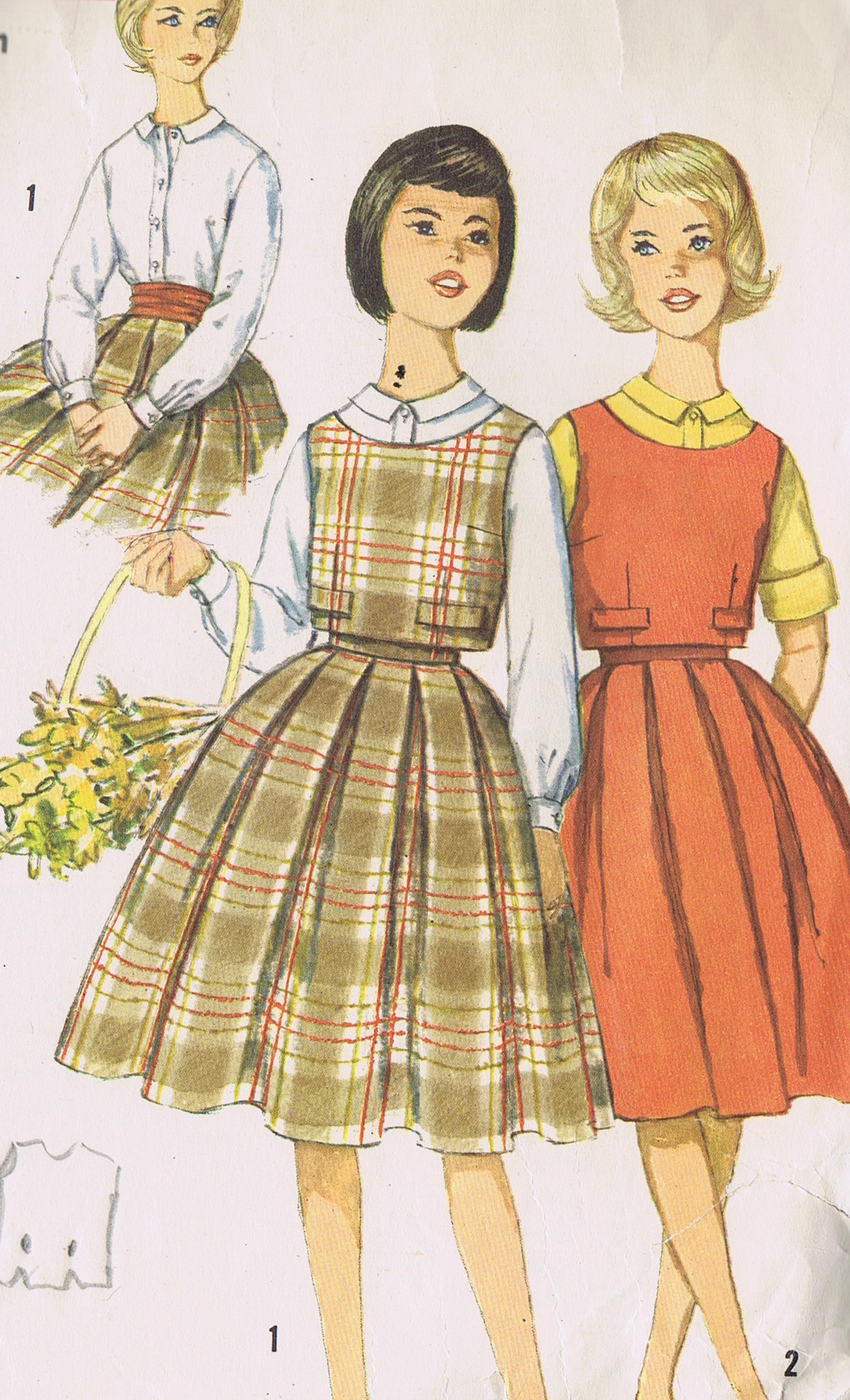 Simplicity 3683 Sewing Pattern Girls Skirt Blouse Top Bust 33 in UNCUT