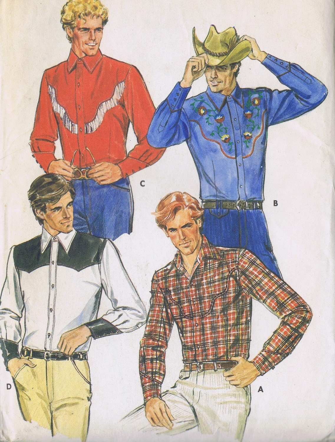 4181 Butterick Western Mens Shirt Sewing Pattern Chest 36 Inches