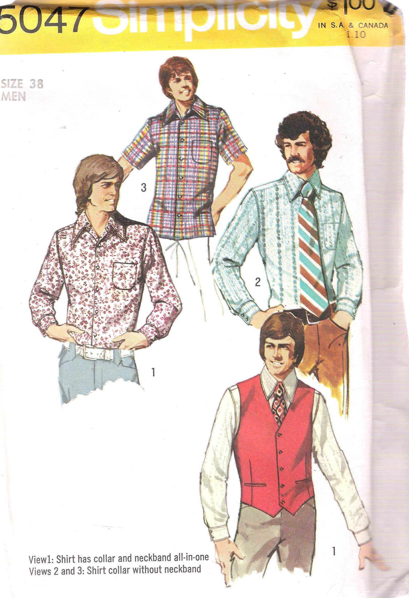 5047 Simplicity Vintage Mens Shirt Vest Sewing Pattern Chest 38 ...