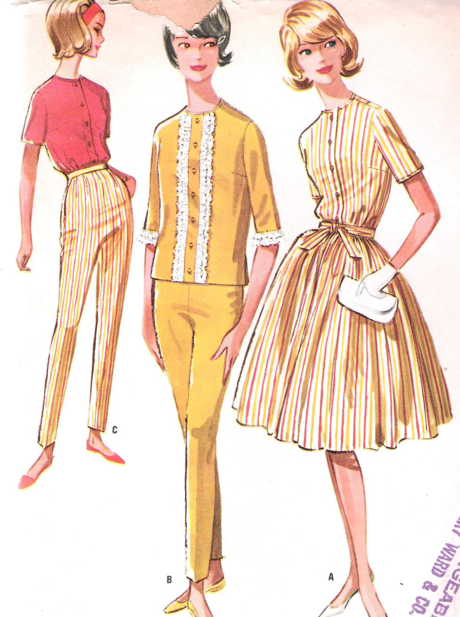 Vintage McCalls 6203 Pants Skirt Blouse Pattern Bust 34 Inches