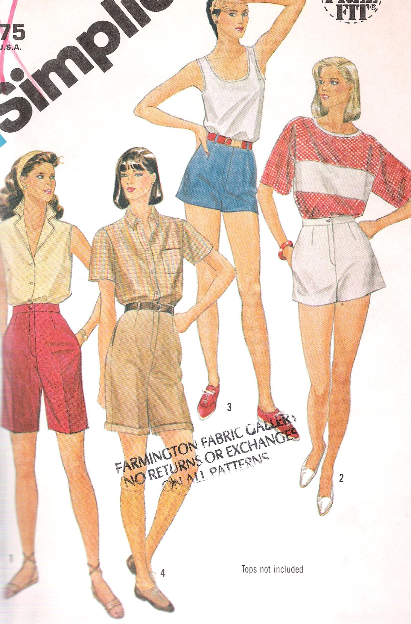 6398 Simplicity Shorts Sewing Pattern Waist 25 Inches