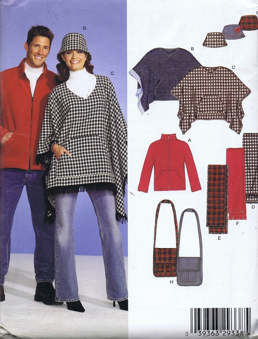 8788 Poncho Jacket Scarf Hat Bust 30 to 48 Inches