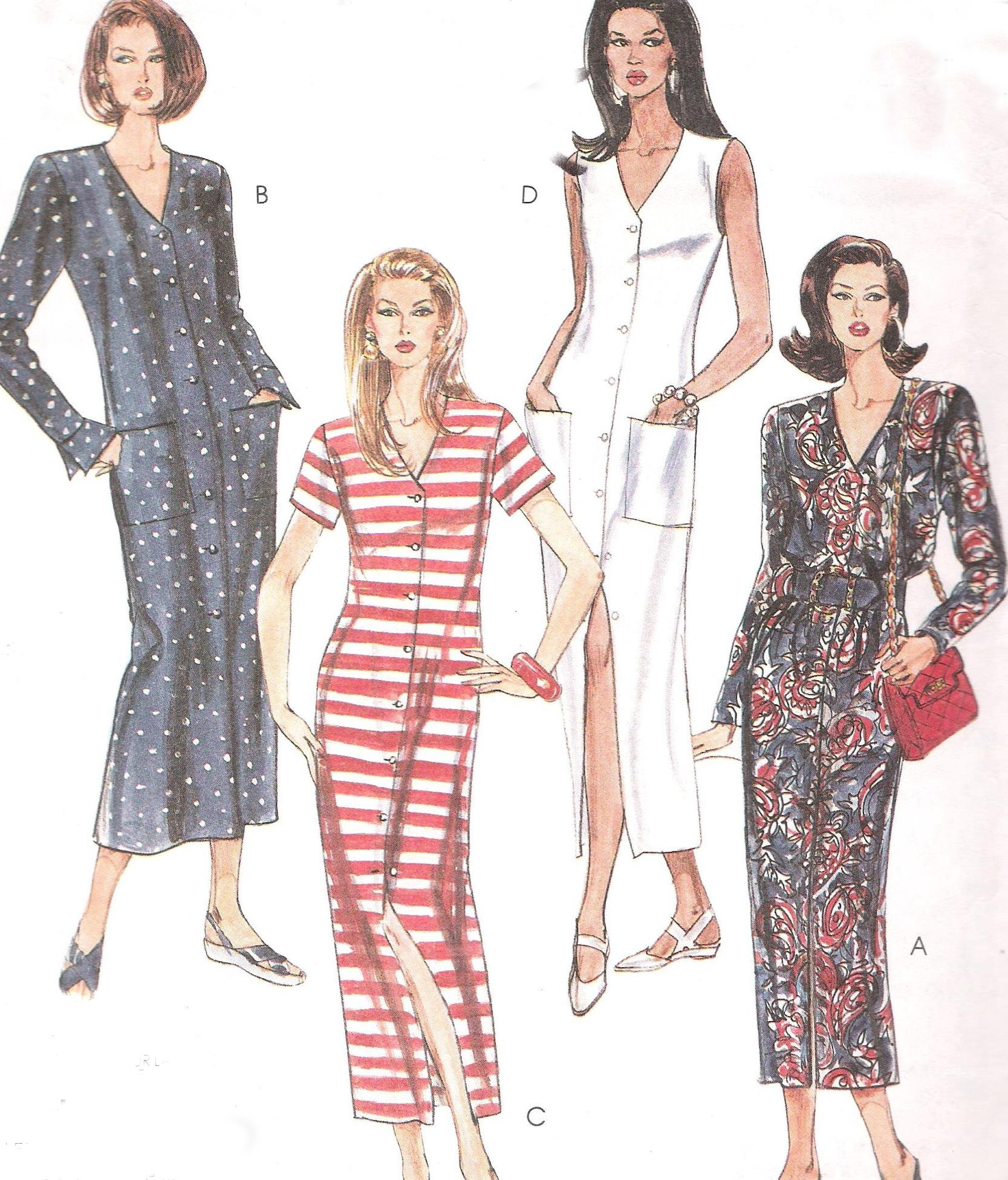 6612 McCalls Dress Button Front Sewing Pattern Bust 32-36 Inches