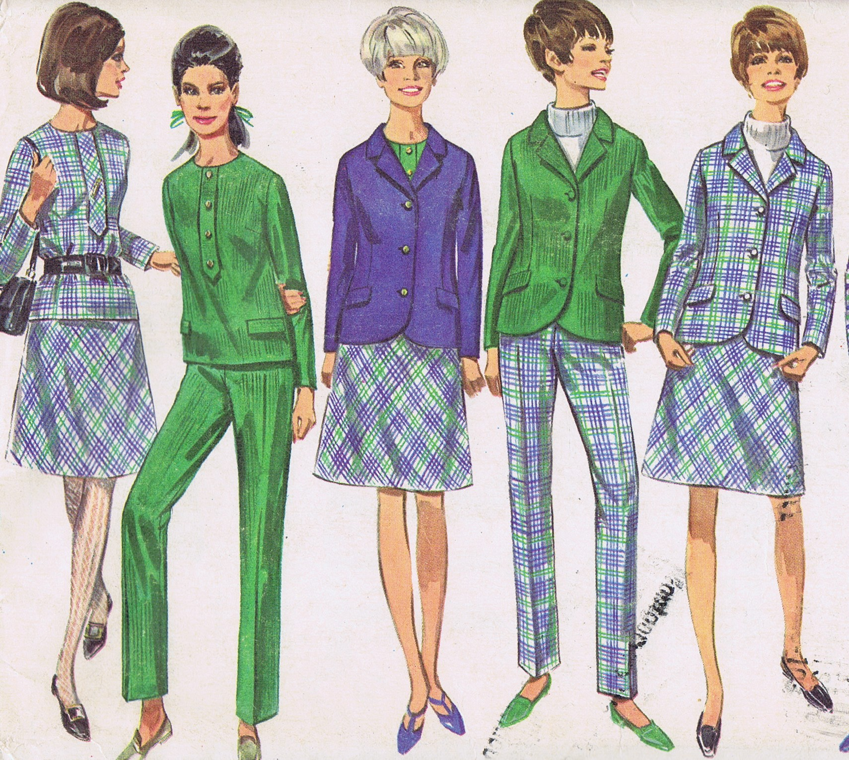 7191 Vintage Simplicity Pants Jacket Skirt 60s Sewing Pattern Bust 36 Hip 40 Inches