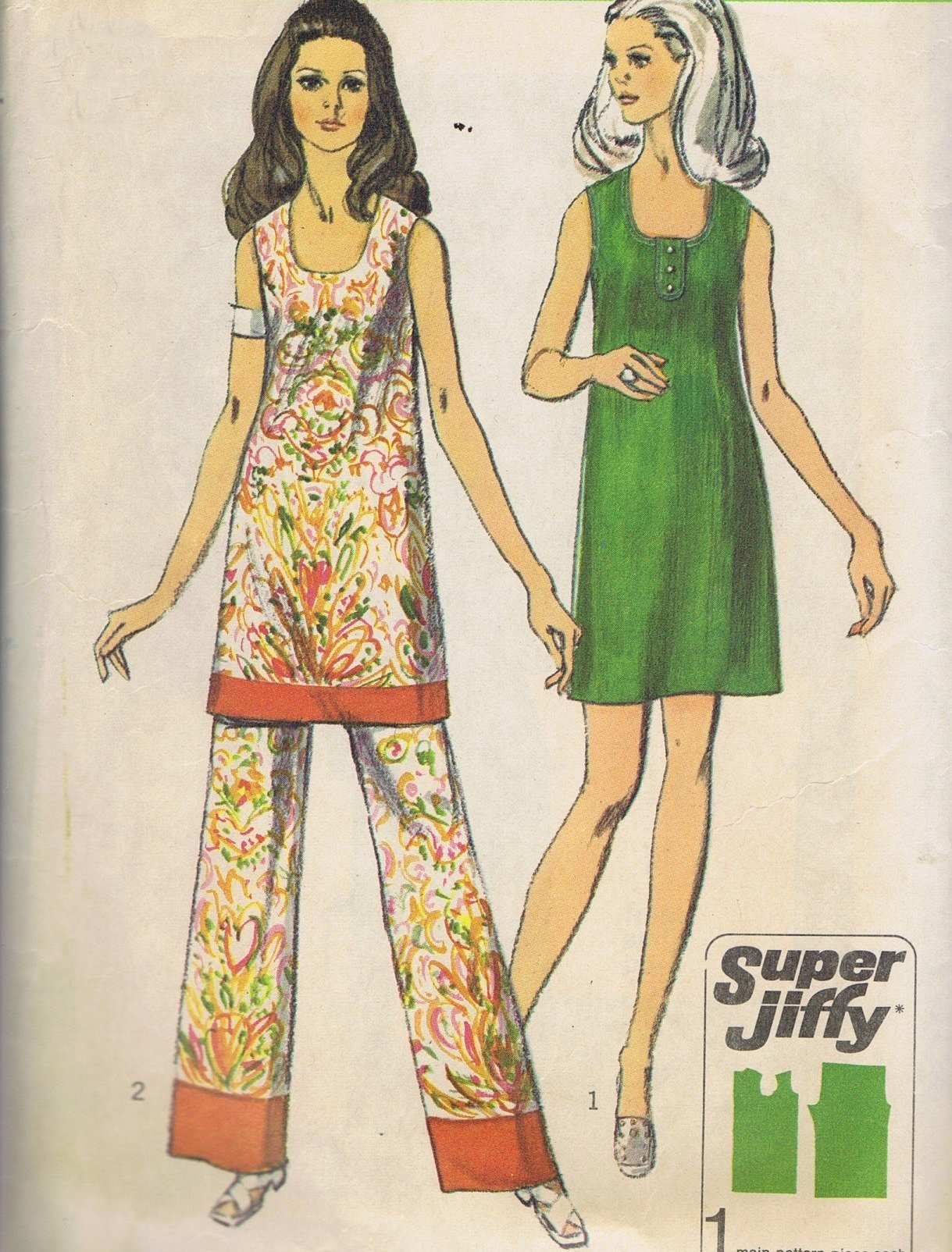 8730 Vintage Simplicity Dress Pants 70s Sewing Pattern Bust 38 Inches