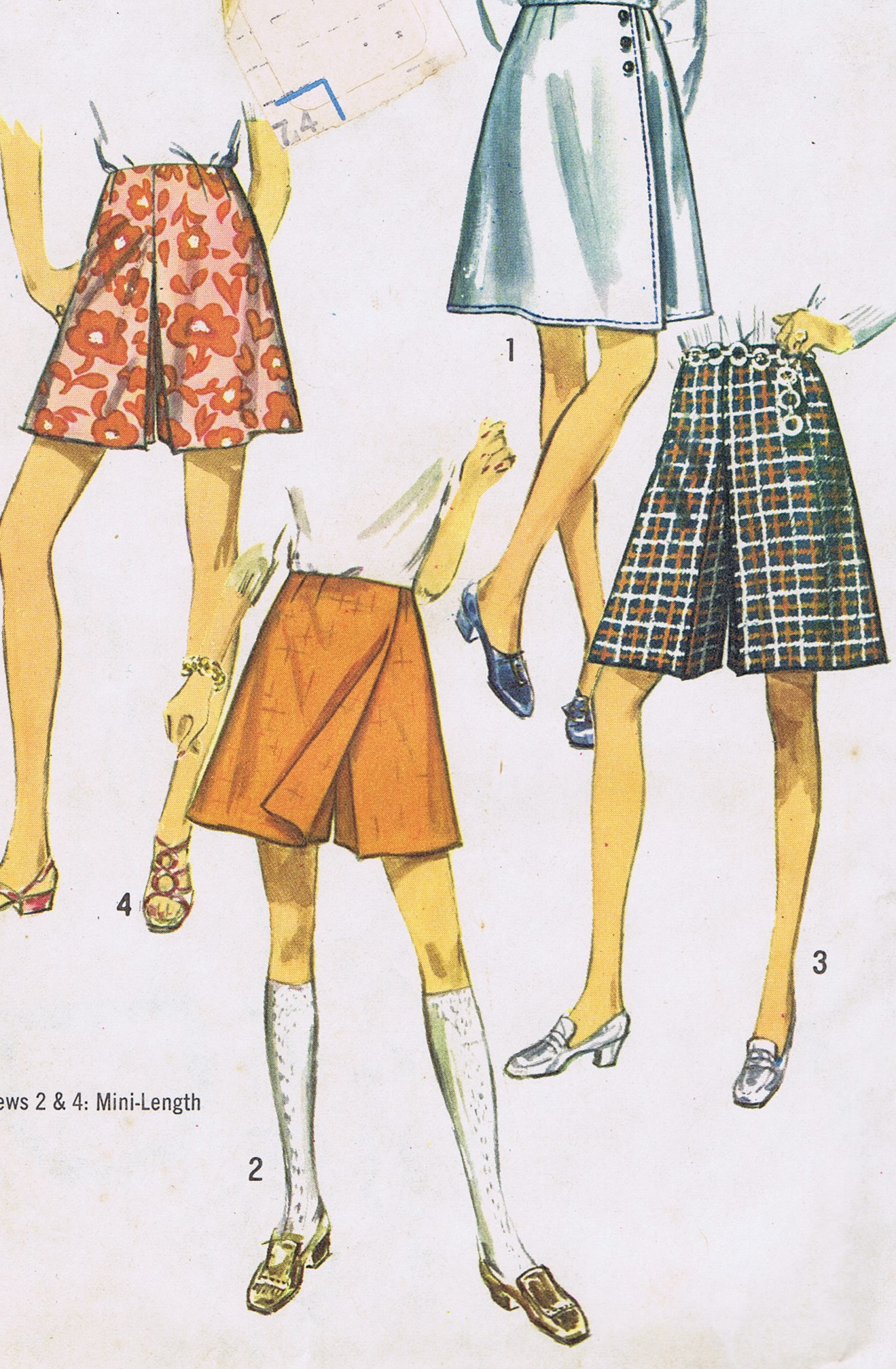 8740 Vintage Simplicity Pant Skirt 70s Sewing Pattern Waist 34 Hip 44 Inches