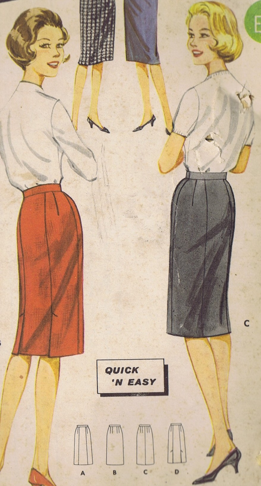2115 Butterick Vintage Sewing Pattern Slim Skirt Waist 30 Hip 40 UNCUT