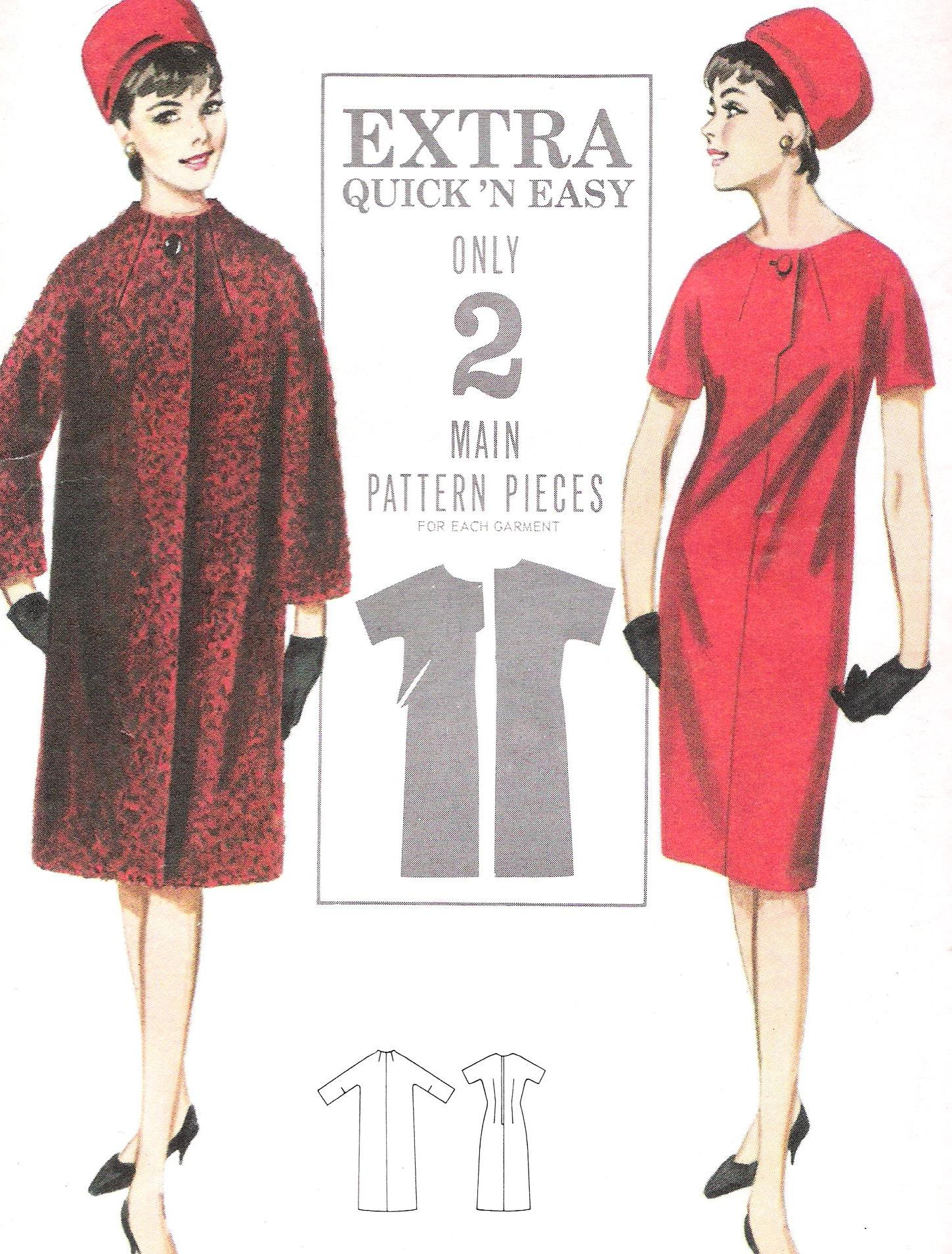 3296 Butterick Dress Coat Ensemble Size 18 Bust 38 Inches Uncut