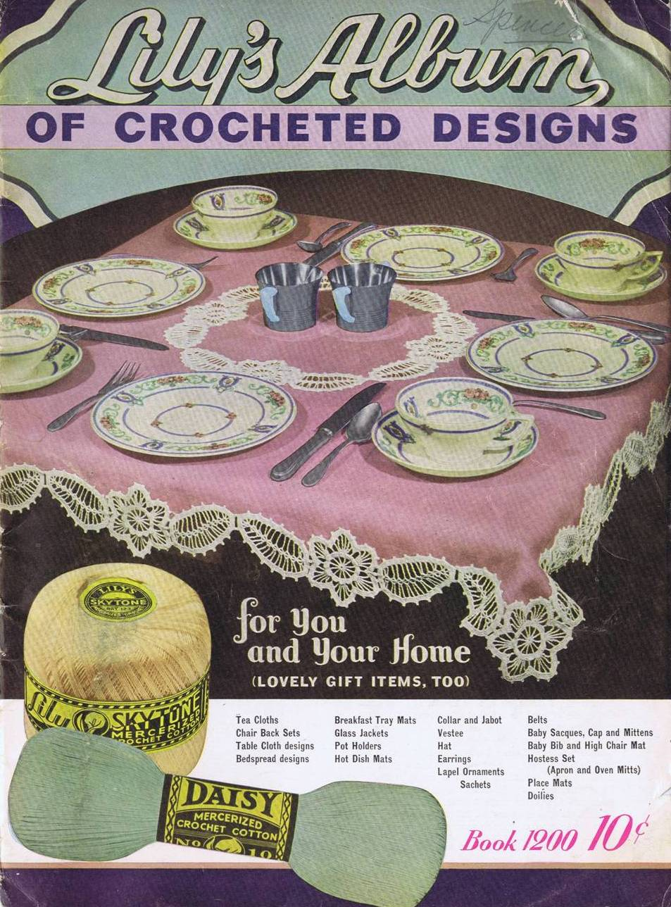 Vintage Crochet Patterns Luncheon Doilies Place Mats Lily Mills Book 1200