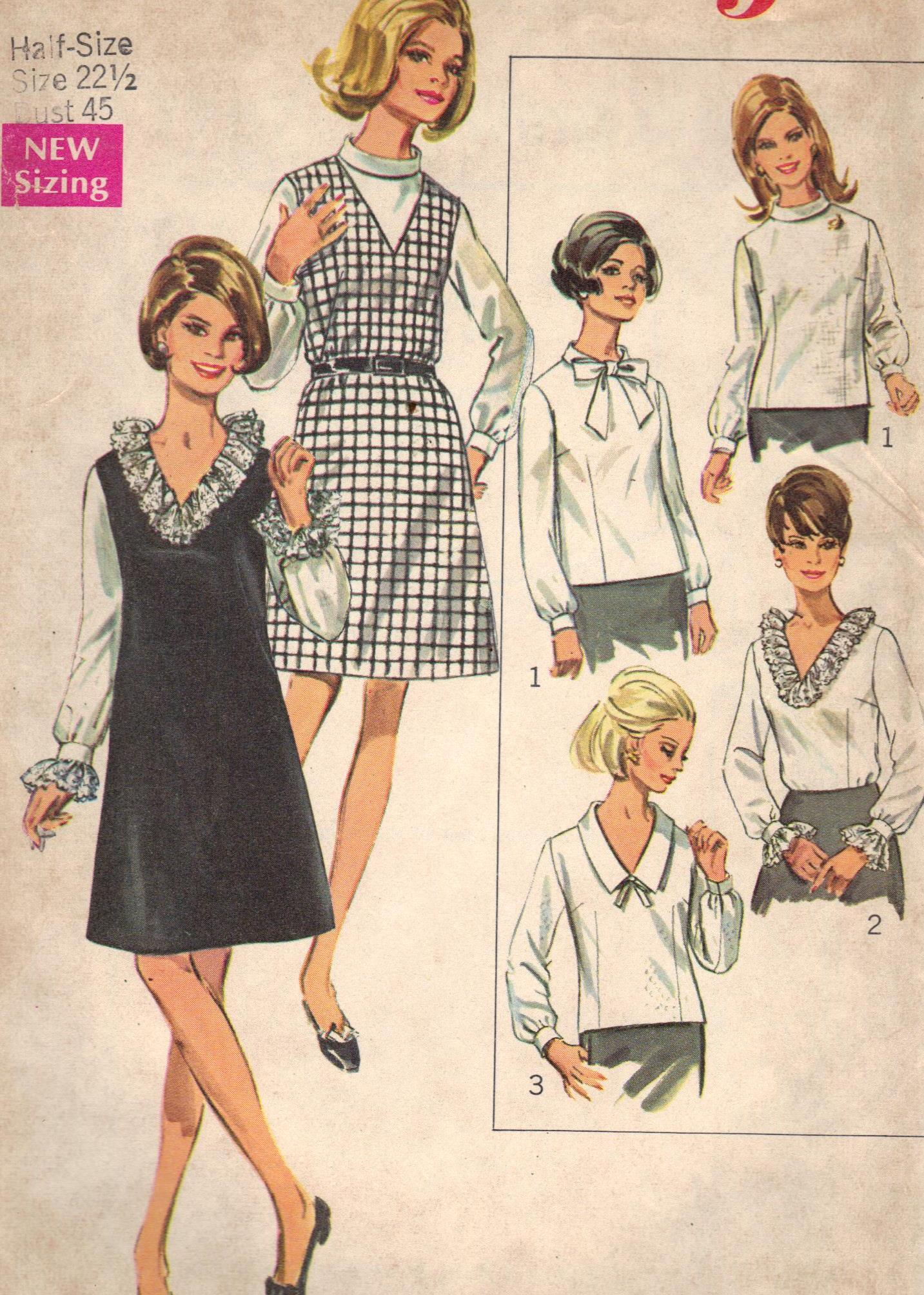7767 Simplicity Vintage Sewing Pattern Dress Blouse Half Bust 45 Inches