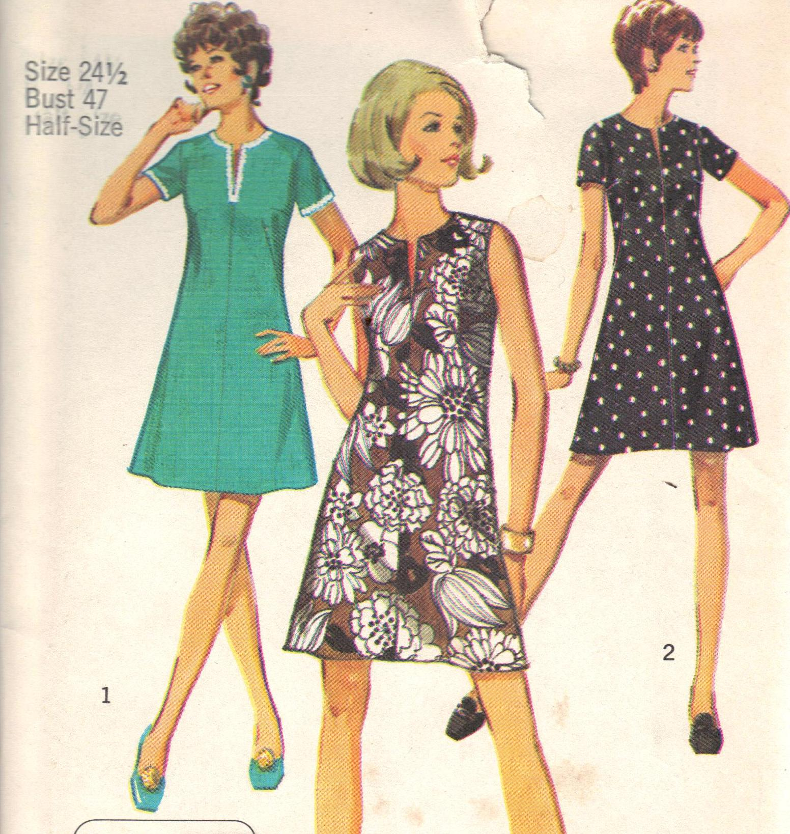 Vintage Dress Sewing Pattern 8702 Simplicity Bust 47 Inches