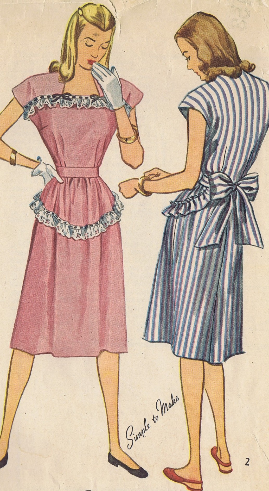 Vintage 1912 Simplicity SEWING PATTERN Forties Dress BUST 34 HIP 37 Inches UNCUT