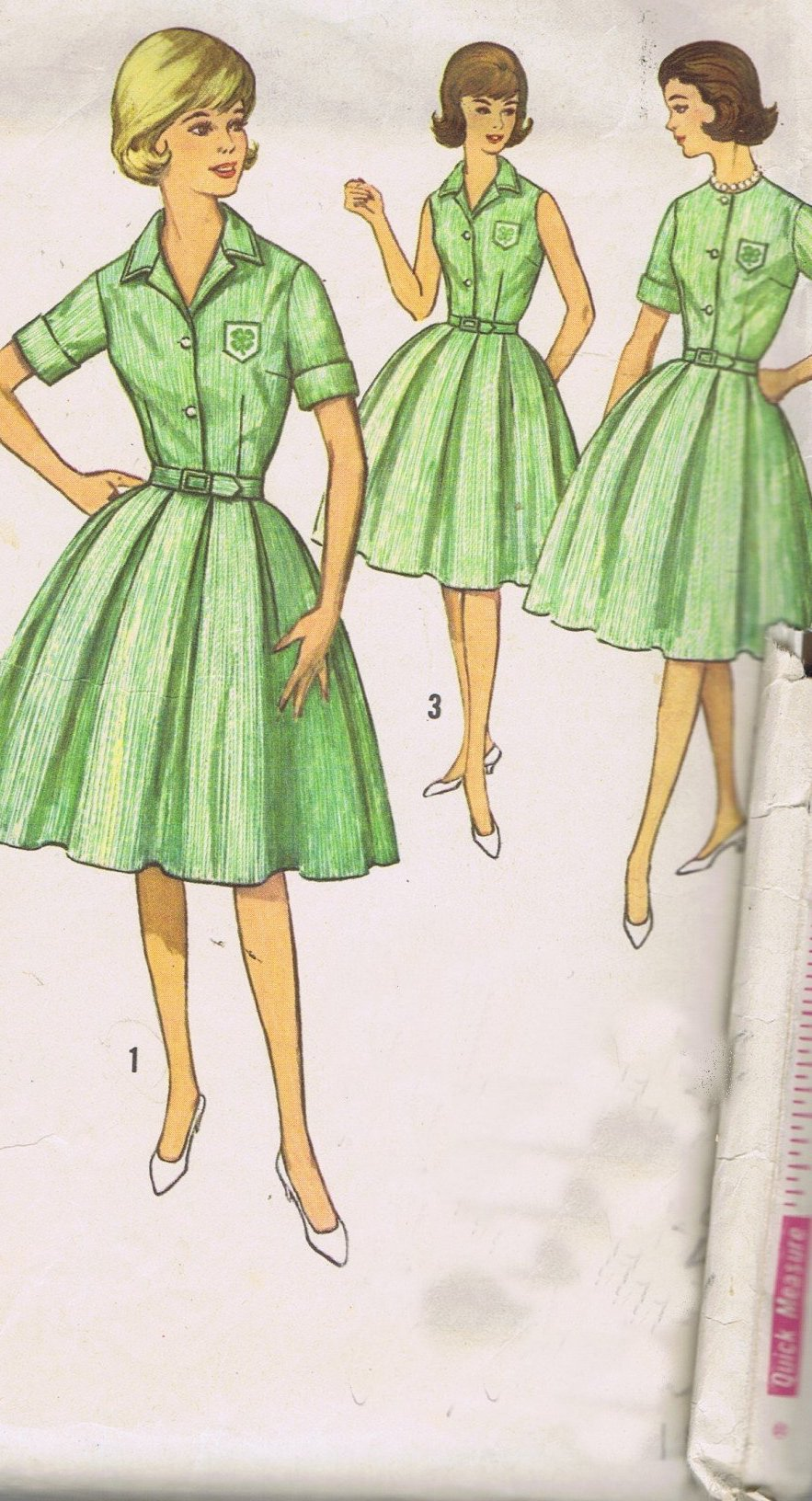 Simplicity 4814 Vintage Sewing Pattern Full Skirt Blouse UNCUT Size 9