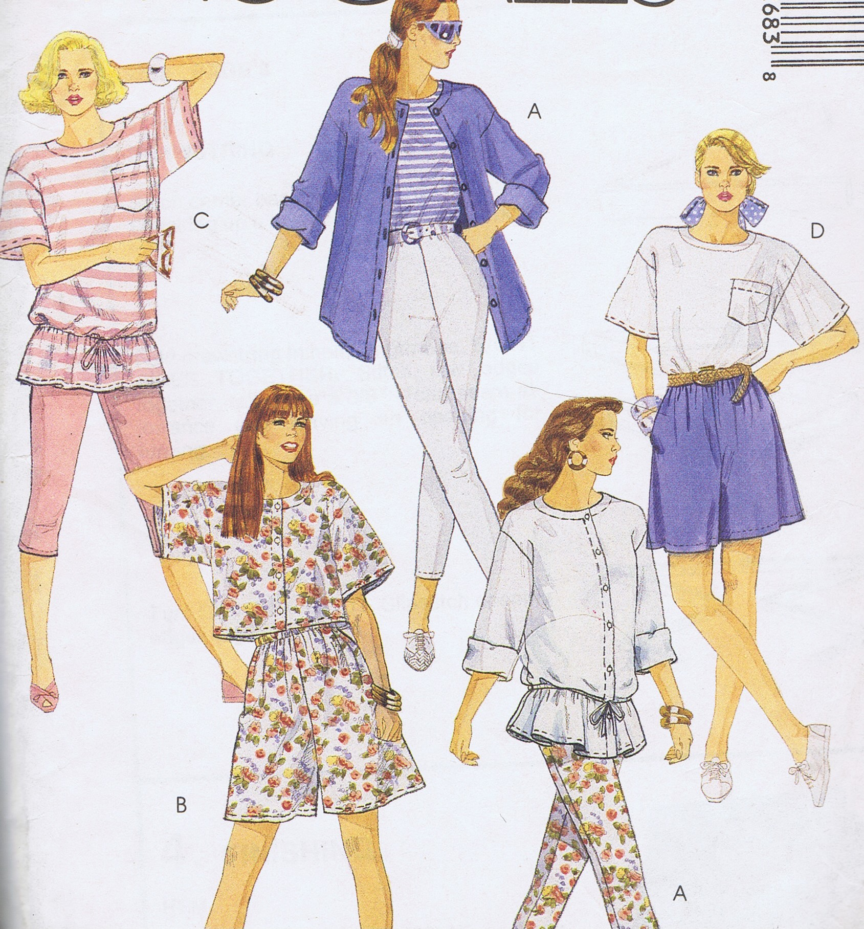 McCalls 5268 Sewing Pattern Tunic Shorts Leggings BUST 36 to 38 UNCUT