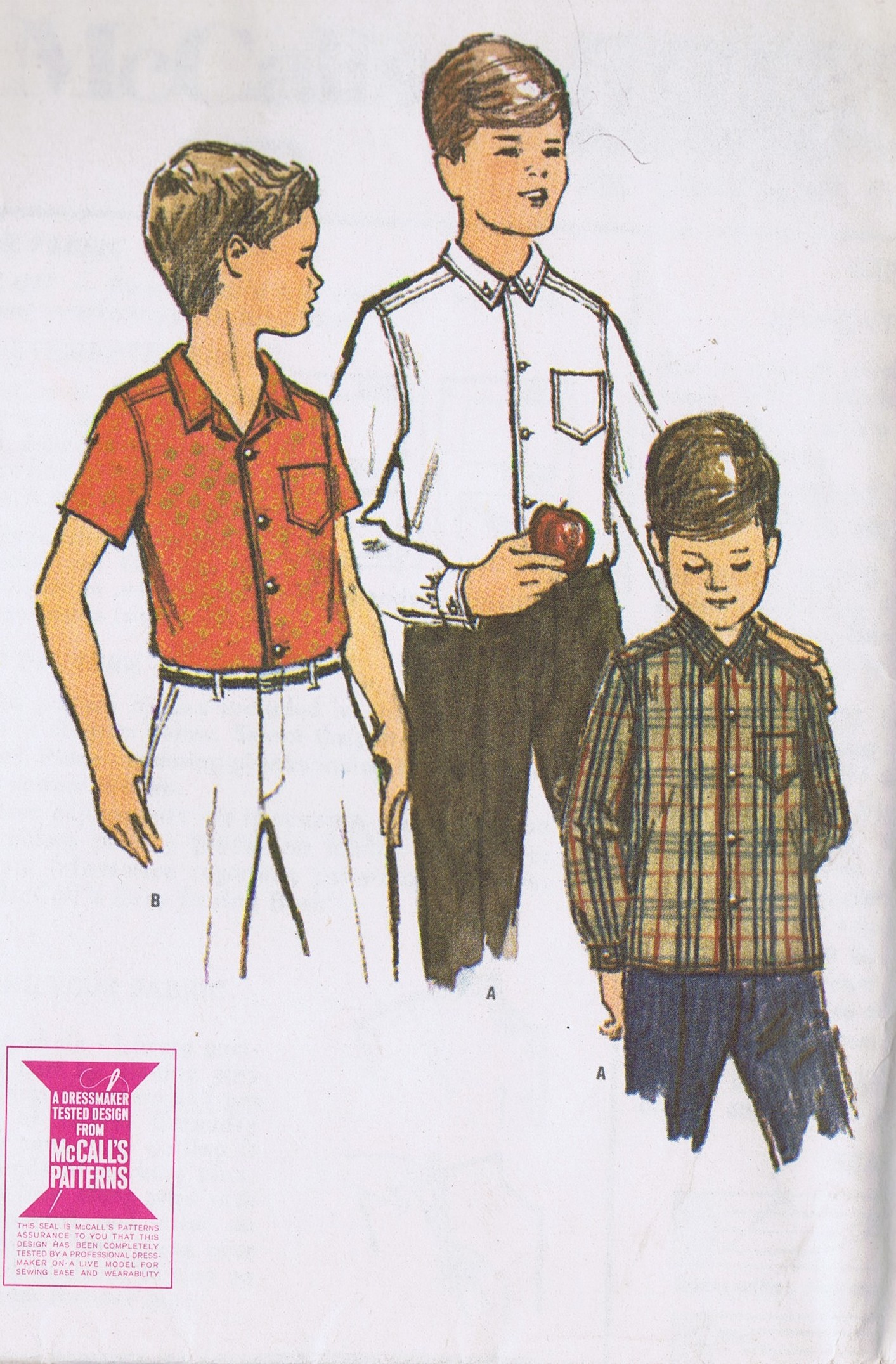 McCalls 7272 Boys Dress Sports Shirt VINTAGE SEWING PATTERNS Chest 30 Inches Uncut