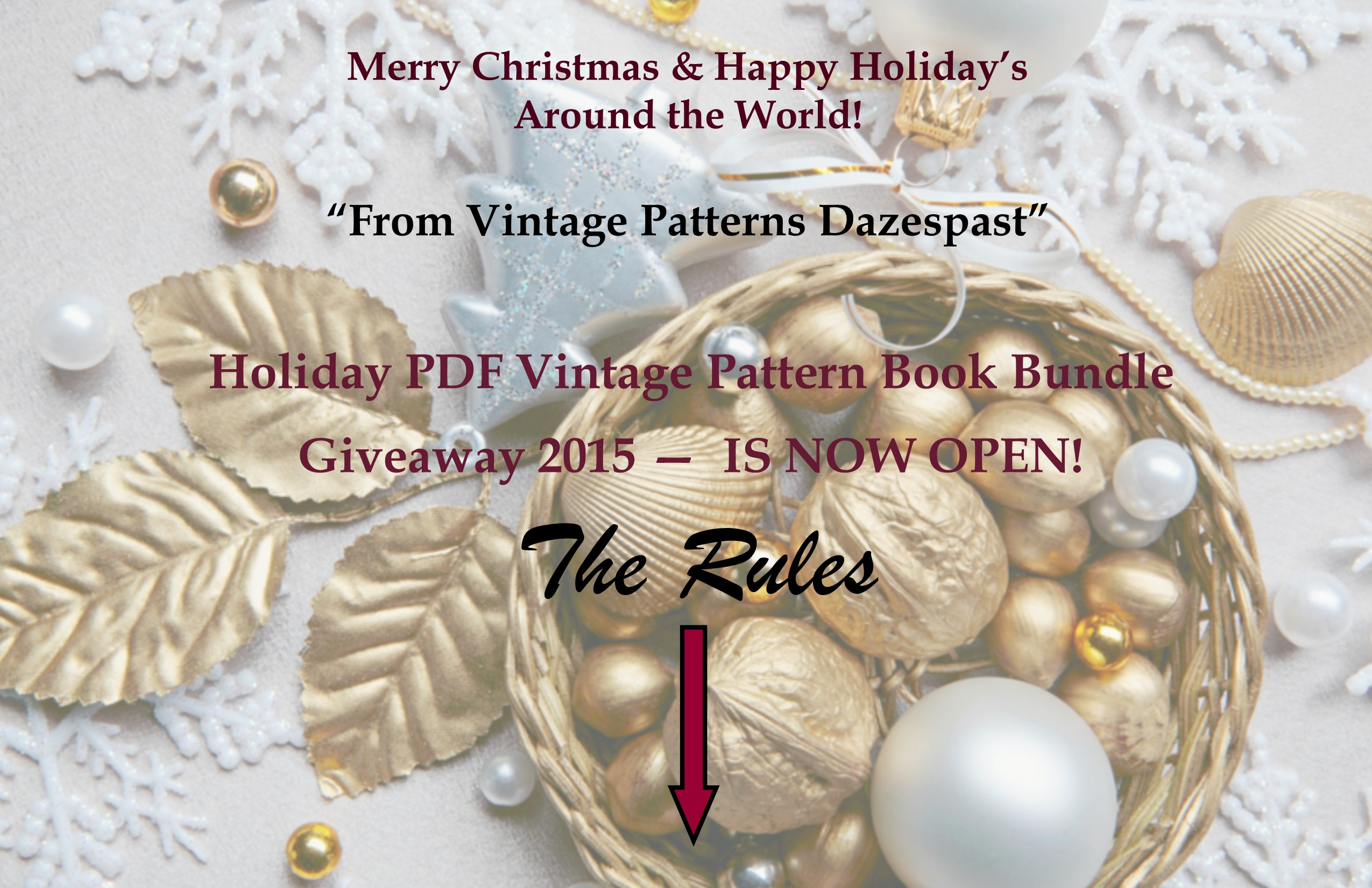 Holiday PDF Vintage Pattern Book Giveaway 2015 NOW OPEN