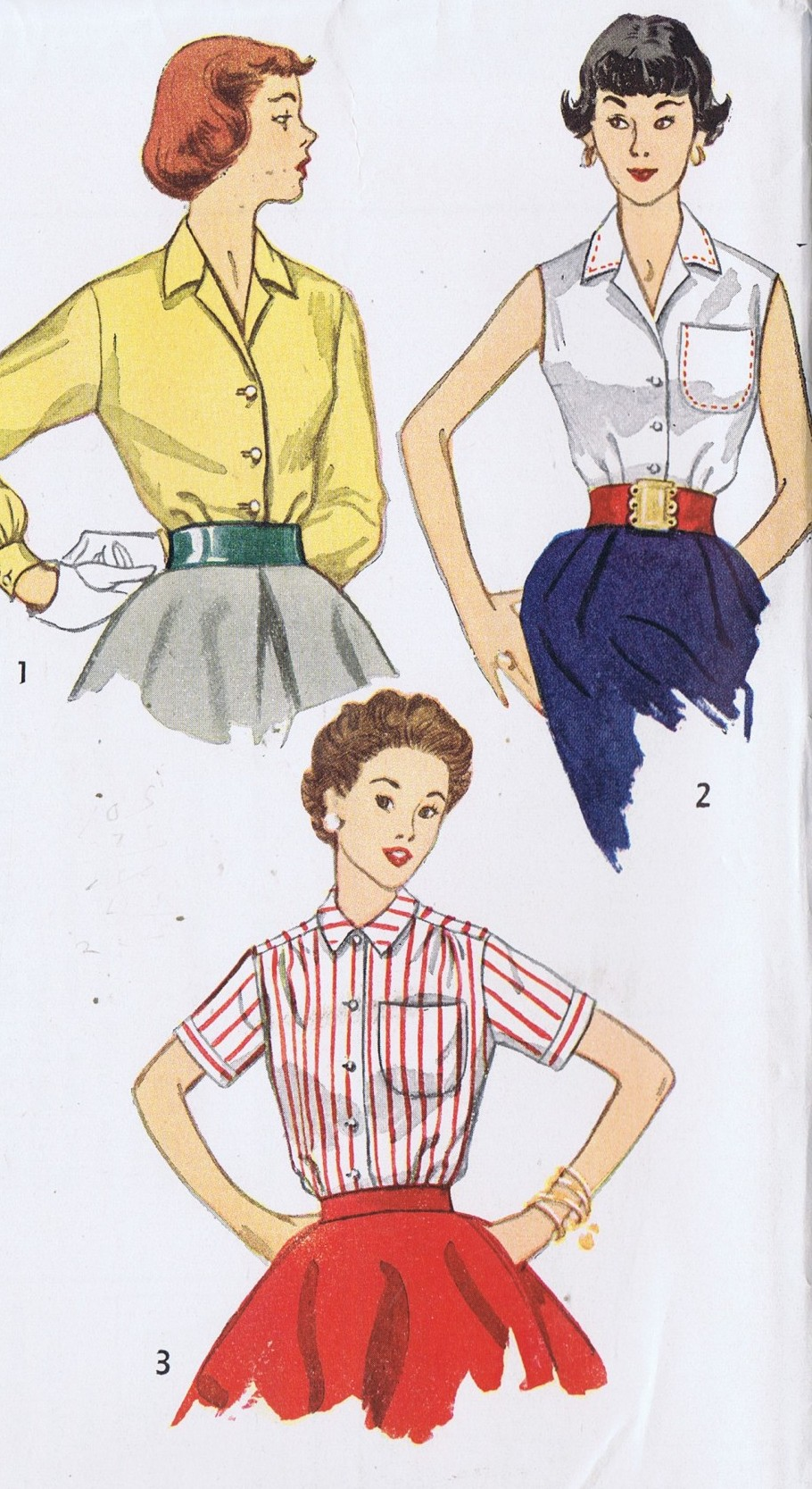4256 Simplicity Vintage Blouse Patterns Bust 29 Waist 24 Hip 32 Inches Uncut