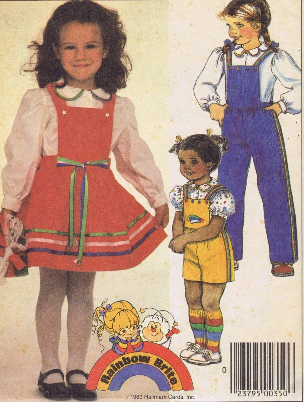 9329 McCalls Girls Dress Overalls Blouse Sewing Pattern Size 2 Bust 21 Inches Uncut