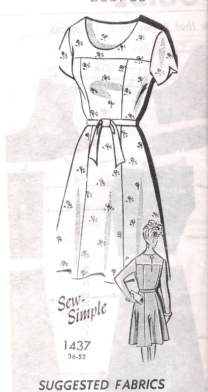 1437 Sewing Pattern Dress Uncut